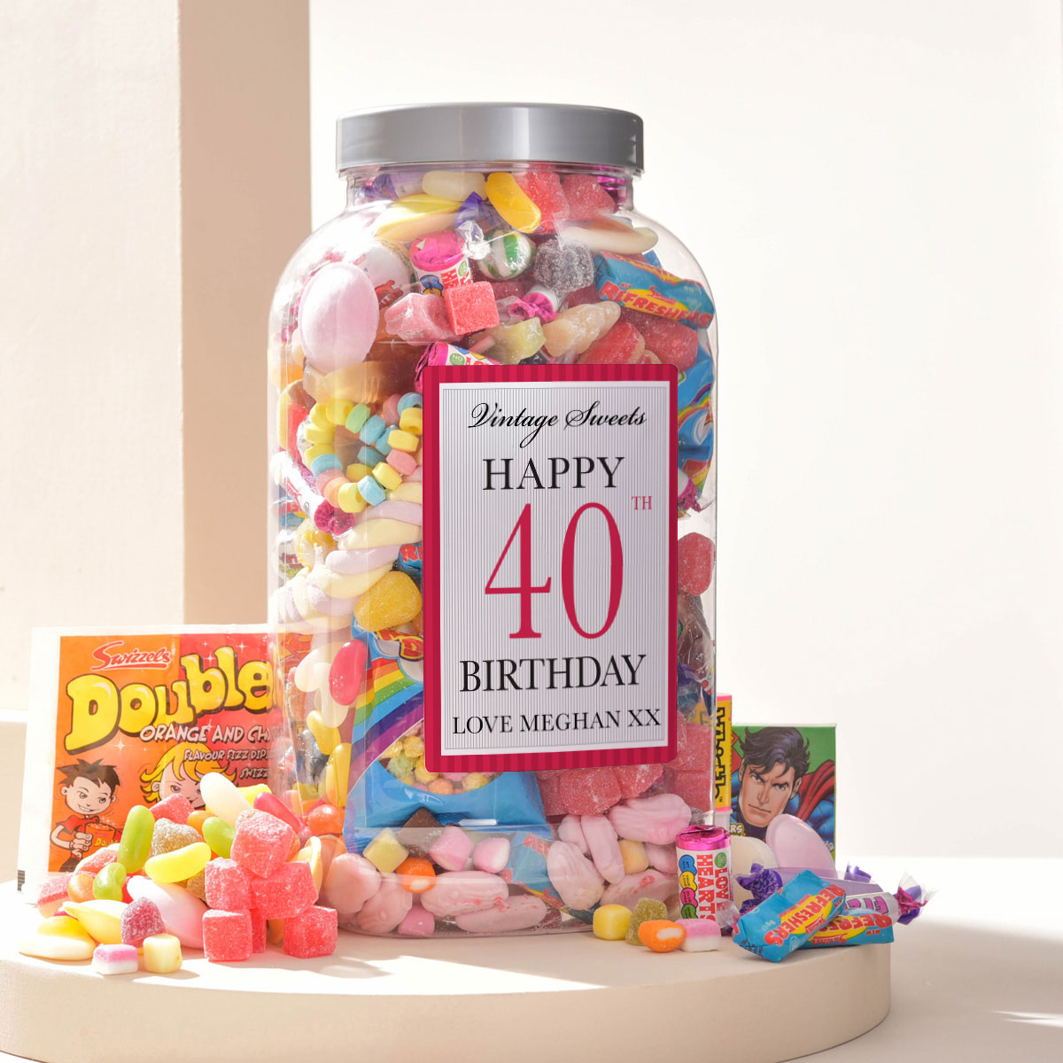Bargain Personalised Retro Sweet Jar - Happy 40th Birthday Stockists