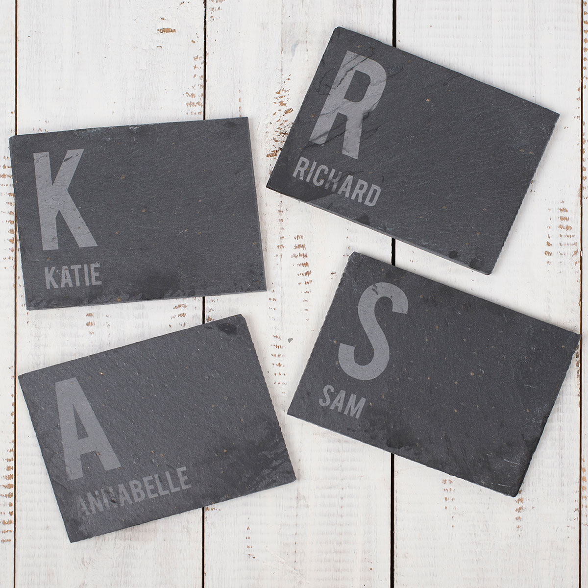 Bargain Personalised Set Of 4 Slate Coasters   First Initial & Name Stockists