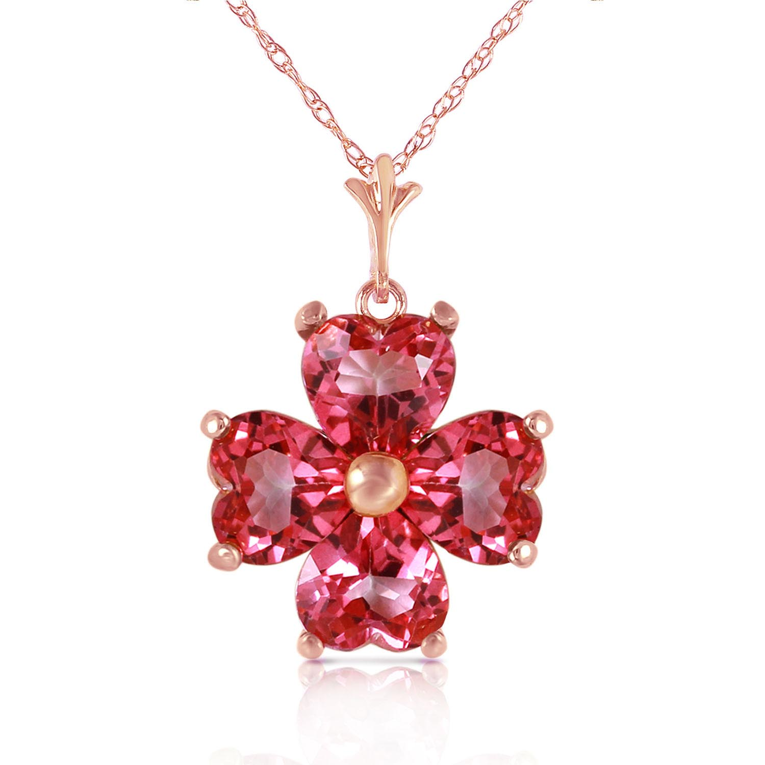 Bargain Pink Topaz Four Leaf Clover Heart Pendant Necklace 3.8ctw in 9ct Rose Gold Stockists