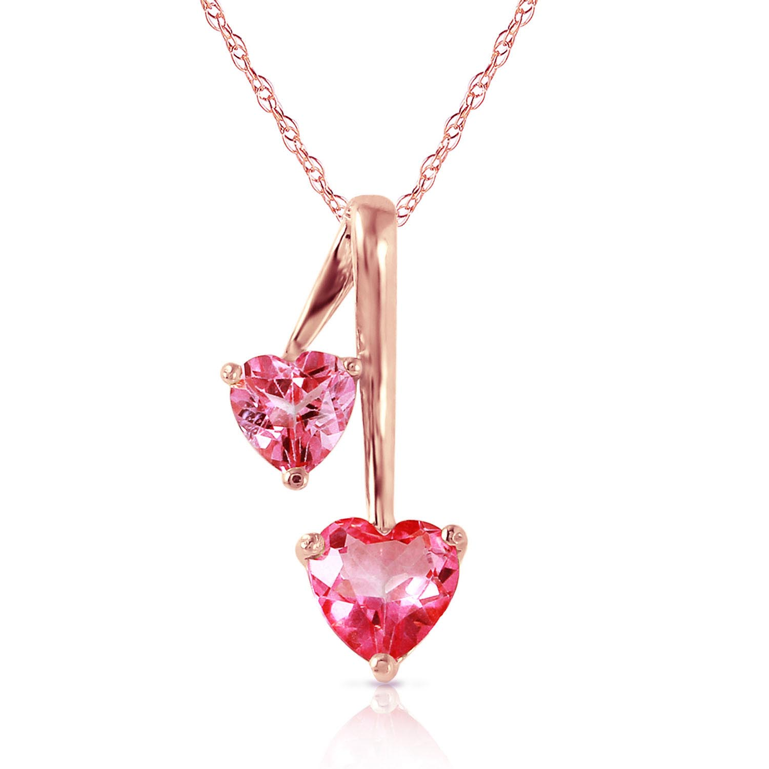 Bargain Pink Topaz Twin Heart Pendant Necklace 1.4ctw in 9ct Rose Gold Stockists