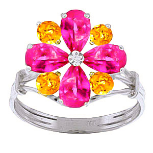 Bargain Pink Topaz and Citrine Sunflower Cluster Ring 2.43ctw in 9ct White Gold Stockists