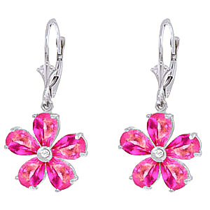 Bargain Pink Topaz and Diamond Flower Petal Drop Earrings 4.4ctw in 9ct White Gold Stockists