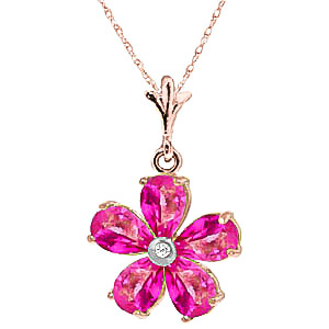 Bargain Pink Topaz and Diamond Flower Petal Pendant Necklace 2.2ctw in 9ct Rose Gold Stockists