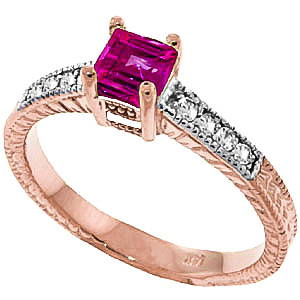 Bargain Pink Topaz and Diamond Shoulder Set Ring 0.5ct in 9ct Rose Gold Stockists