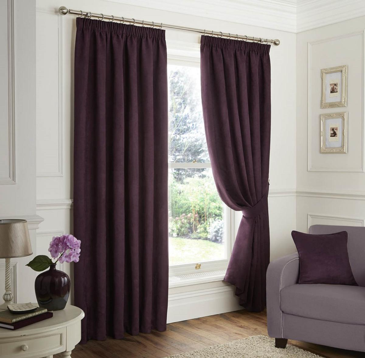 Stockists of Plum Faux Suede Ready Made Lined Curtains