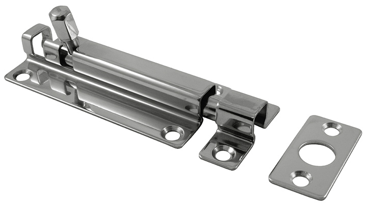 Stockists of Polished Stainless Steel Slide Door Bolt 80x38mm