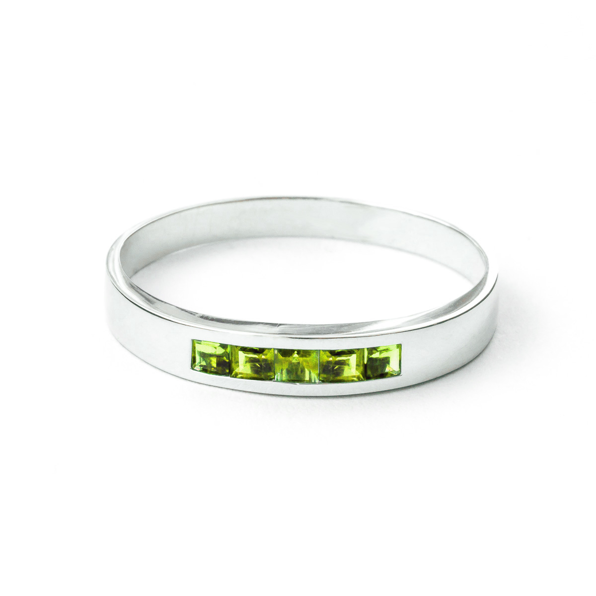 Bargain Princess Cut Peridot Ring 0.6ctw in 9ct White Gold Stockists