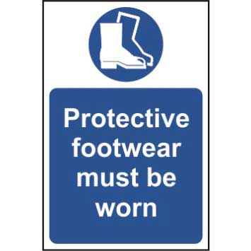 Bargain Protective footwear must be worn - Self Adhesive Sign 200 x 300mm Stockists