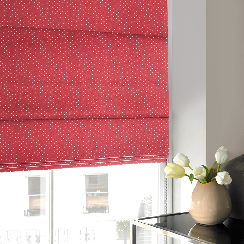 Bargain Red Dotty Roman Blind Stockists