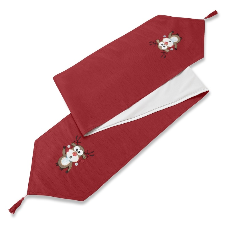 Stockists of Red Rudolph Embroidered Christmas Table Runner