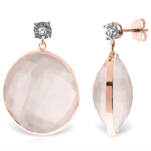 Bargain Rose Quartz and Diamond Stud Earrings 34.0ctw in 9ct Rose Gold Stockists