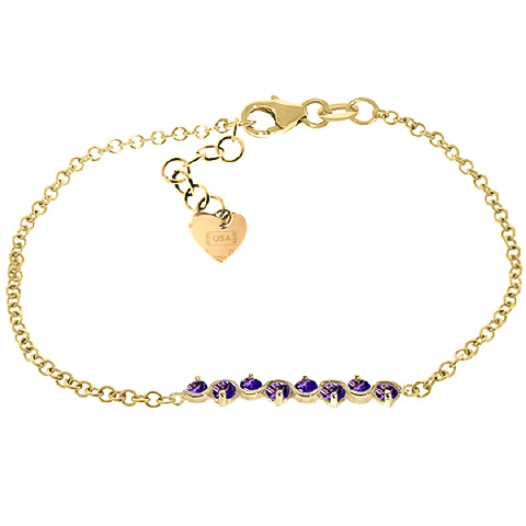 Bargain Round Brilliant Cut Amethyst Adjustable Bracelet 1.55ctw in 9ct Gold Stockists
