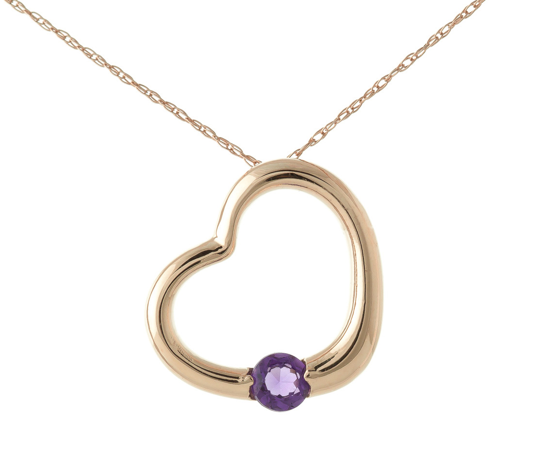 Bargain Round Brilliant Cut Amethyst Pendant Necklace 0.25ct in 9ct Rose Gold Stockists