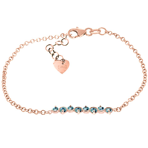 Bargain Round Brilliant Cut Blue Topaz Adjustable Bracelet 1.55ctw in 9ct Rose Gold Stockists