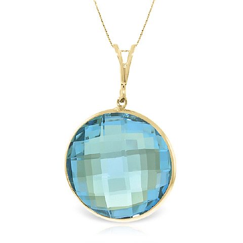 Bargain Round Brilliant Cut Blue Topaz Pendant Necklace 23.0ctw in 9ct Gold Stockists