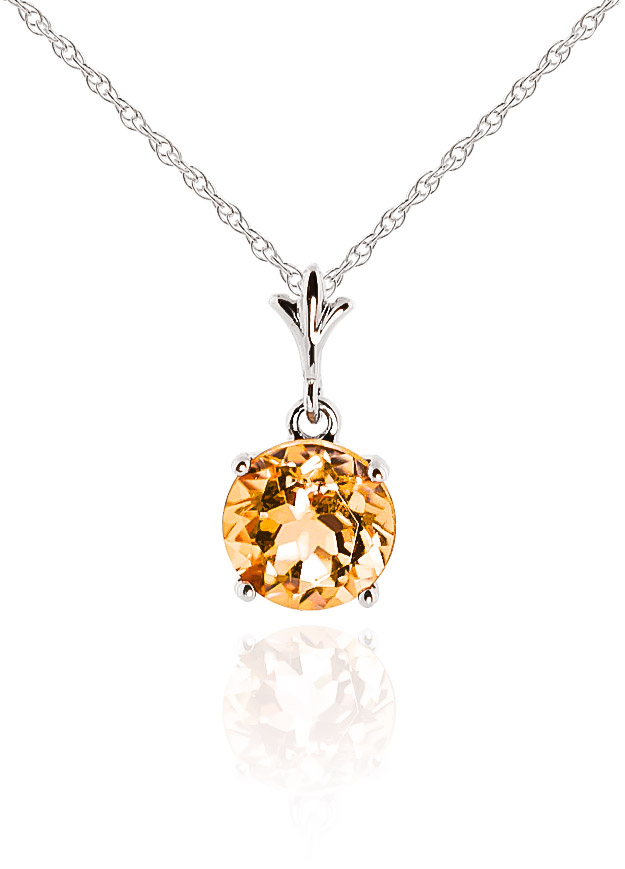 Bargain Round Brilliant Cut Citrine Pendant Necklace 1.15ct in 9ct White Gold Stockists