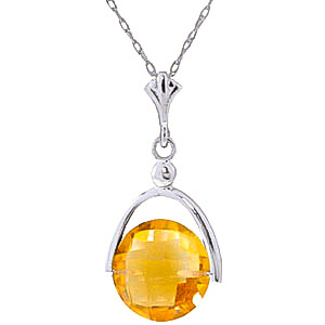 Bargain Round Brilliant Cut Citrine Pendant Necklace 3.25ct in 9ct White Gold Stockists