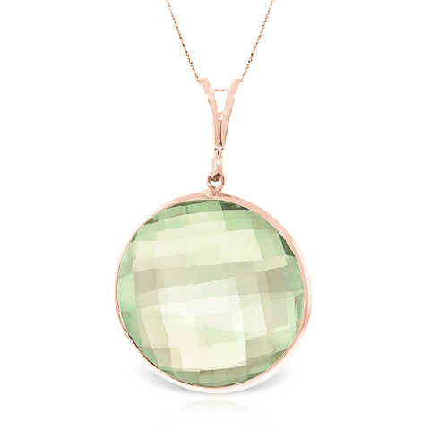 Bargain Round Brilliant Cut Green Amethyst Pendant Necklace 18.0ctw in 9ct Rose Gold Stockists
