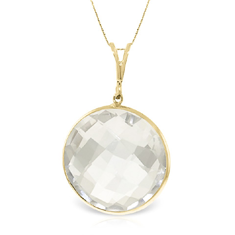 Bargain Round Brilliant Cut White Topaz Pendant Necklace 18.0ctw in 9ct Gold Stockists