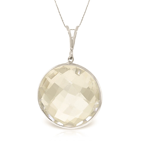 Bargain Round Brilliant Cut White Topaz Pendant Necklace 18.0ctw in 9ct White Gold Stockists