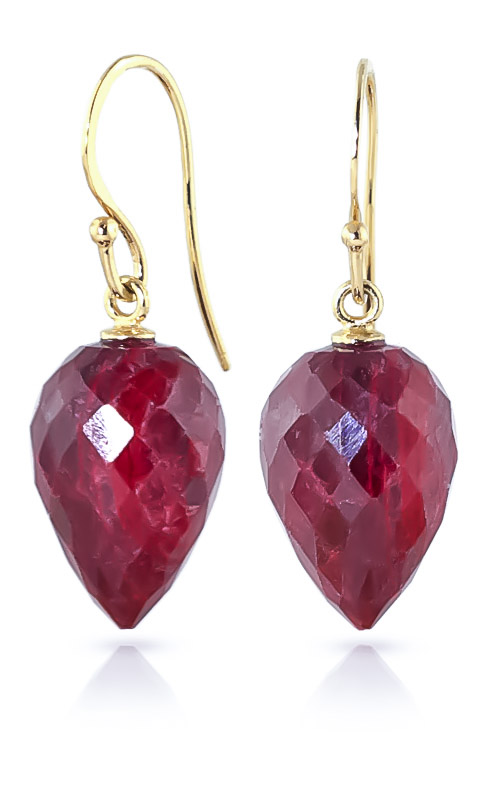 Bargain Ruby Briolette Drop Earrings 26.1ctw in 9ct Gold Stockists