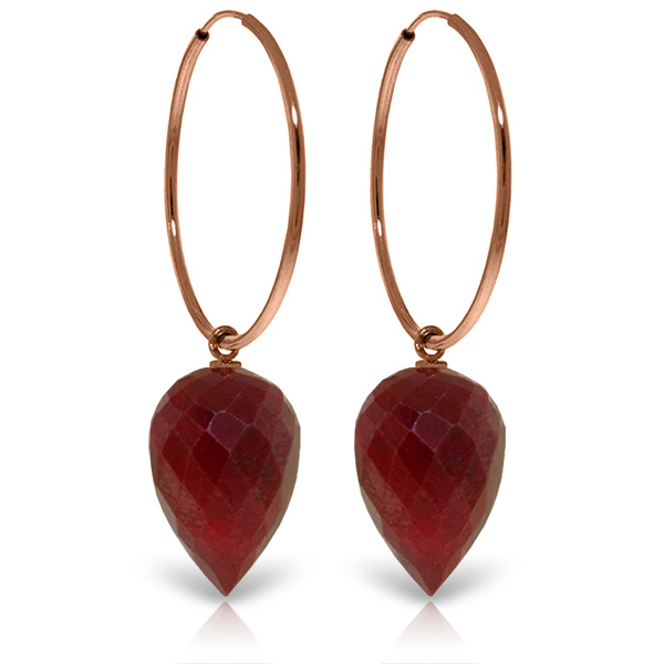 Bargain Ruby Briolette Hoop Earrings 26.1ctw in 9ct Rose Gold Stockists