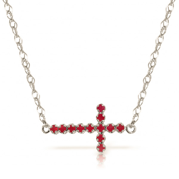 Bargain Ruby Cross Pendant Necklace 0.3ct in 9ct White Gold Stockists
