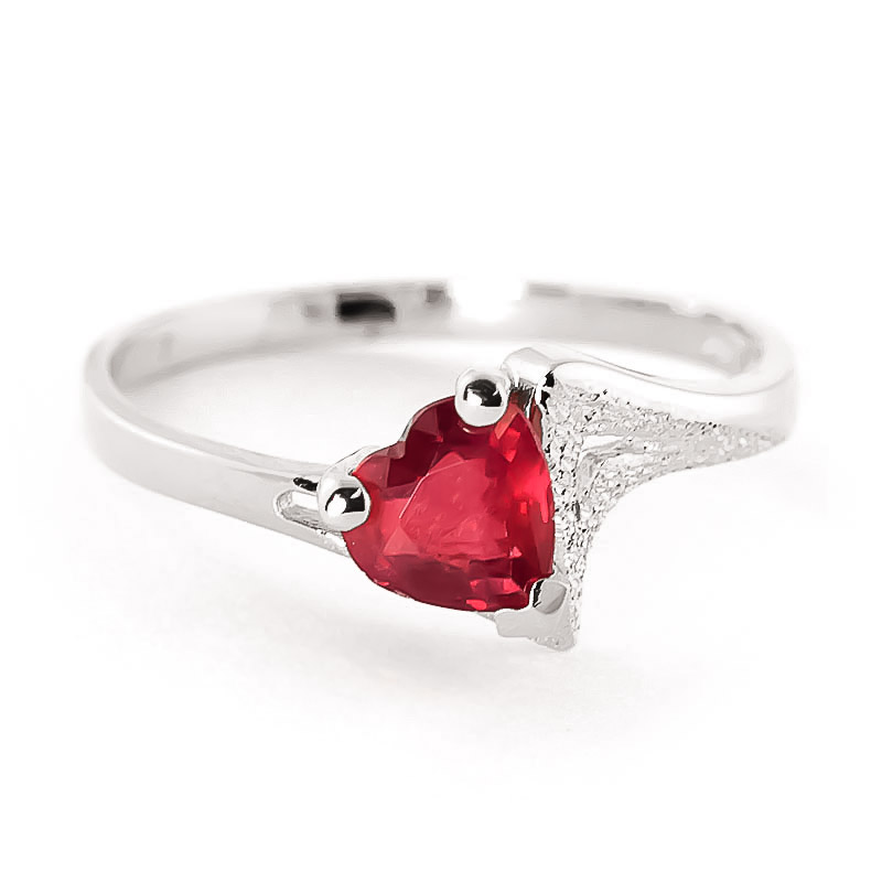 Bargain Ruby Devotion Heart Ring 1.0ct in 9ct White Gold Stockists