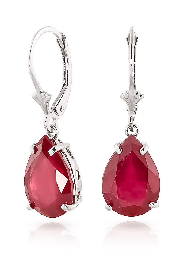Bargain Ruby Drop Earrings 10.0ctw in 9ct White Gold Stockists