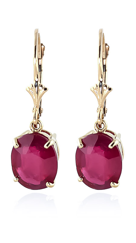 Bargain Ruby Drop Earrings 7.0ctw in 9ct Gold Stockists
