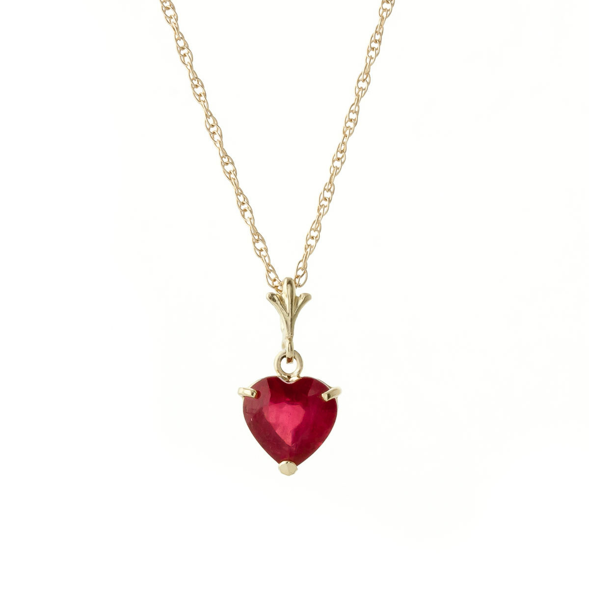 Bargain Ruby Heart Pendant Necklace 1.45ct in 9ct Gold Stockists
