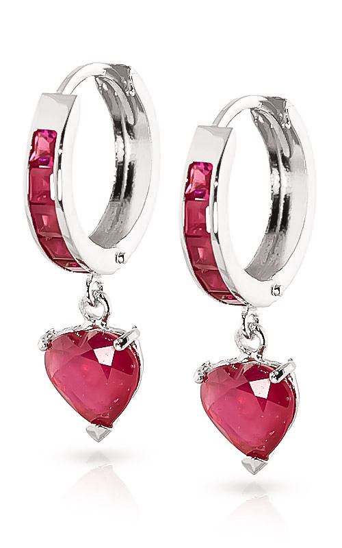 Bargain Ruby Huggie Earrings 0.85ctw in 9ct White Gold Stockists
