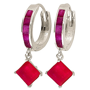 Bargain Ruby Huggie Hoop Earrings 1.3ctw in 9ct White Gold Stockists
