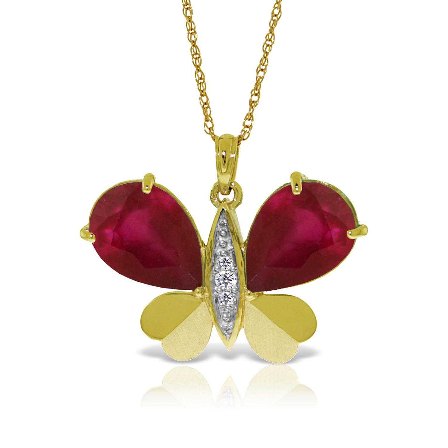 Bargain Ruby and Diamond Butterfly Pendant Necklace 10.5ctw in 9ct Gold Stockists