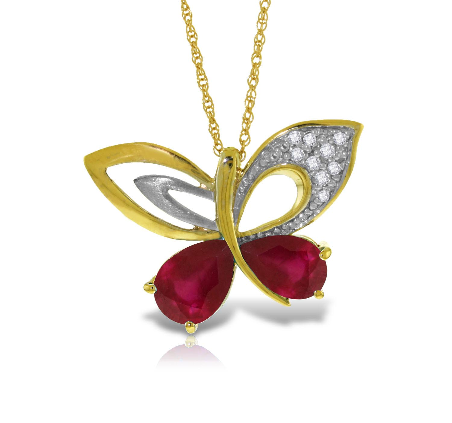 Bargain Ruby and Diamond Butterfly Pendant Necklace 4.2ctw in 9ct Gold Stockists