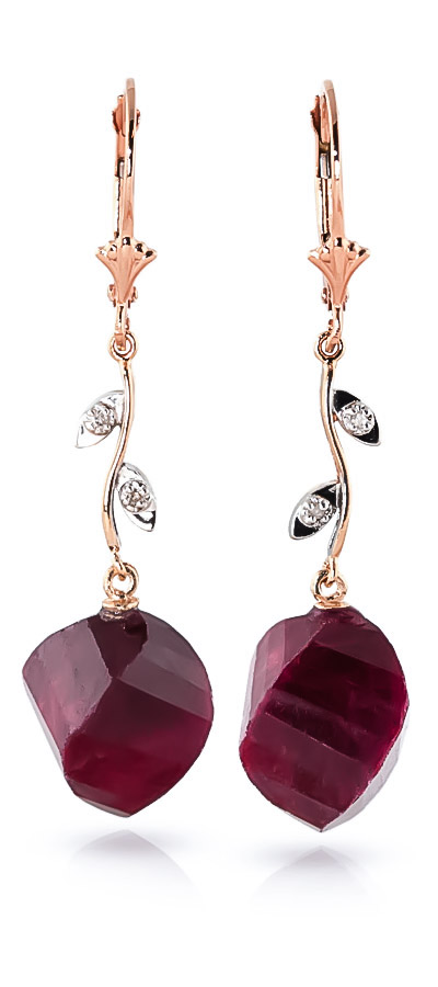 Bargain Ruby and Diamond Drop Earrings 30.5ctw in 9ct Rose Gold Stockists