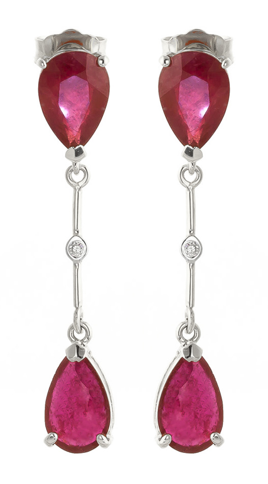 Bargain Ruby and Diamond Drop Earrings 7.0ctw in 9ct White Gold Stockists