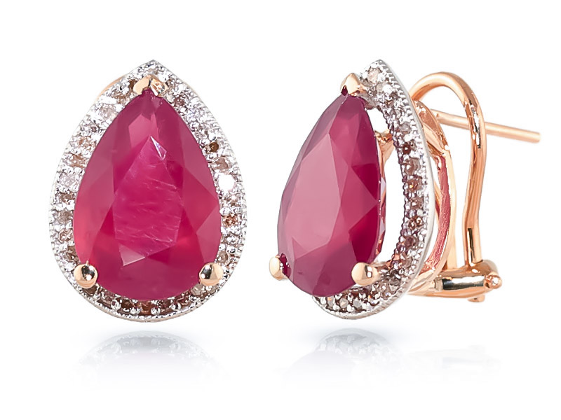 Bargain Ruby and Diamond French Clip Halo Earrings 10.7ctw in 9ct Rose Gold Stockists