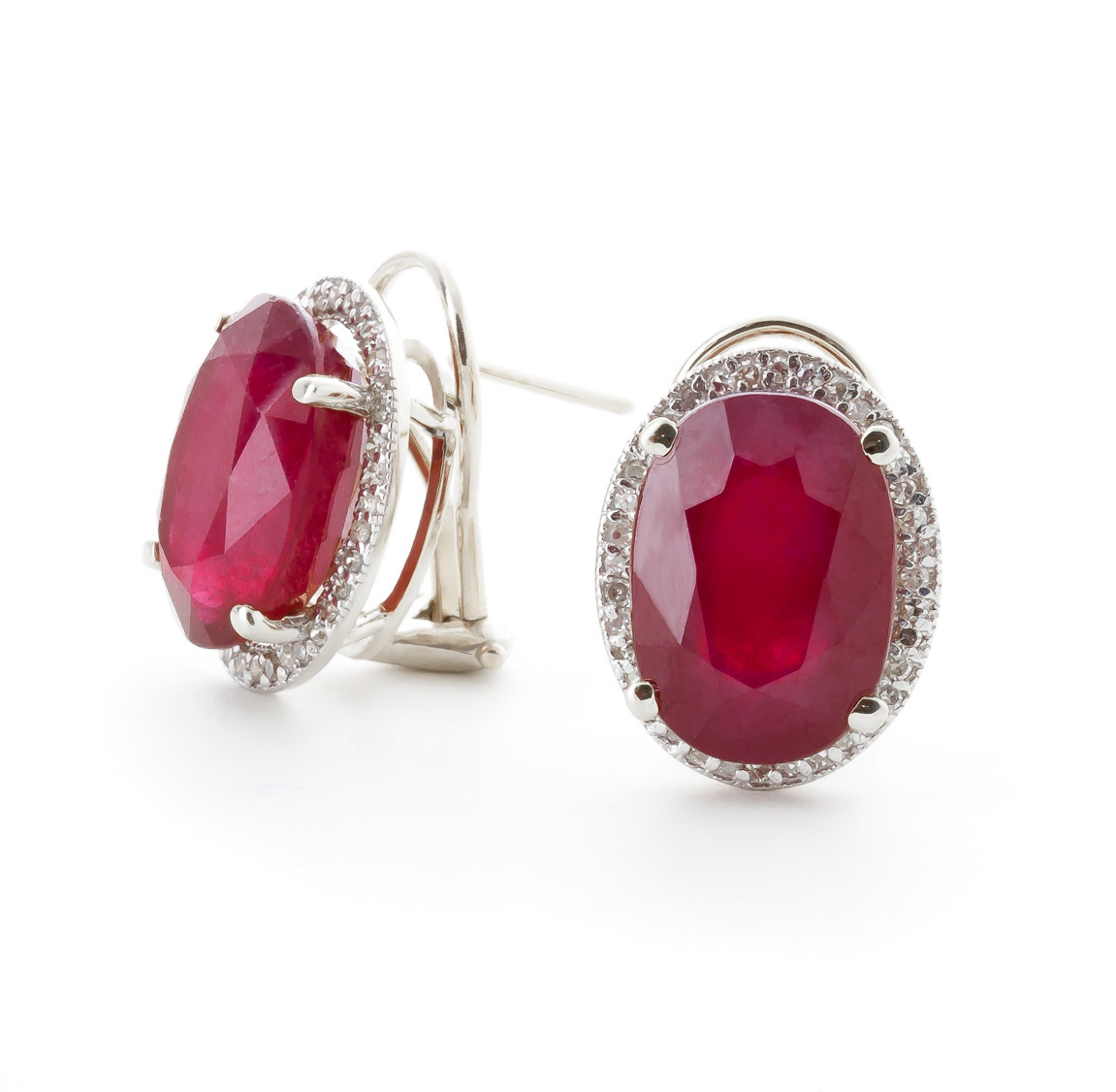 Bargain Ruby and Diamond French Clip Halo Earrings 15.5ctw in 9ct White Gold Stockists