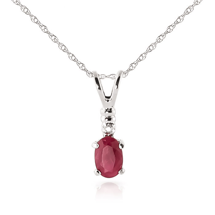 Bargain Ruby and Diamond Pendant Necklace 0.45ct in 9ct White Gold Stockists