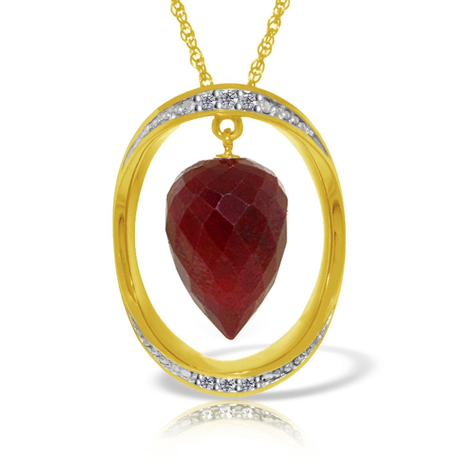 Bargain Ruby and Diamond Pendant Necklace 13.0ct in 9ct Gold Stockists