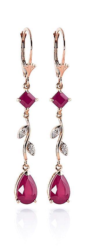 Bargain Ruby and Diamond Vine Branch Drop Earrings 3.95ctw in 9ct Rose Gold Stockists