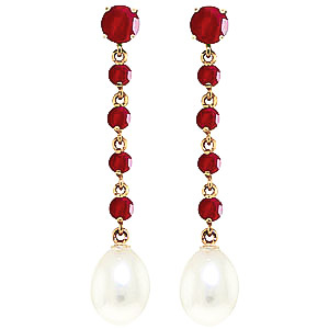 Bargain Ruby and Pearl by the Yard Drop Earrings 10.0ctw in 9ct Gold Stockists