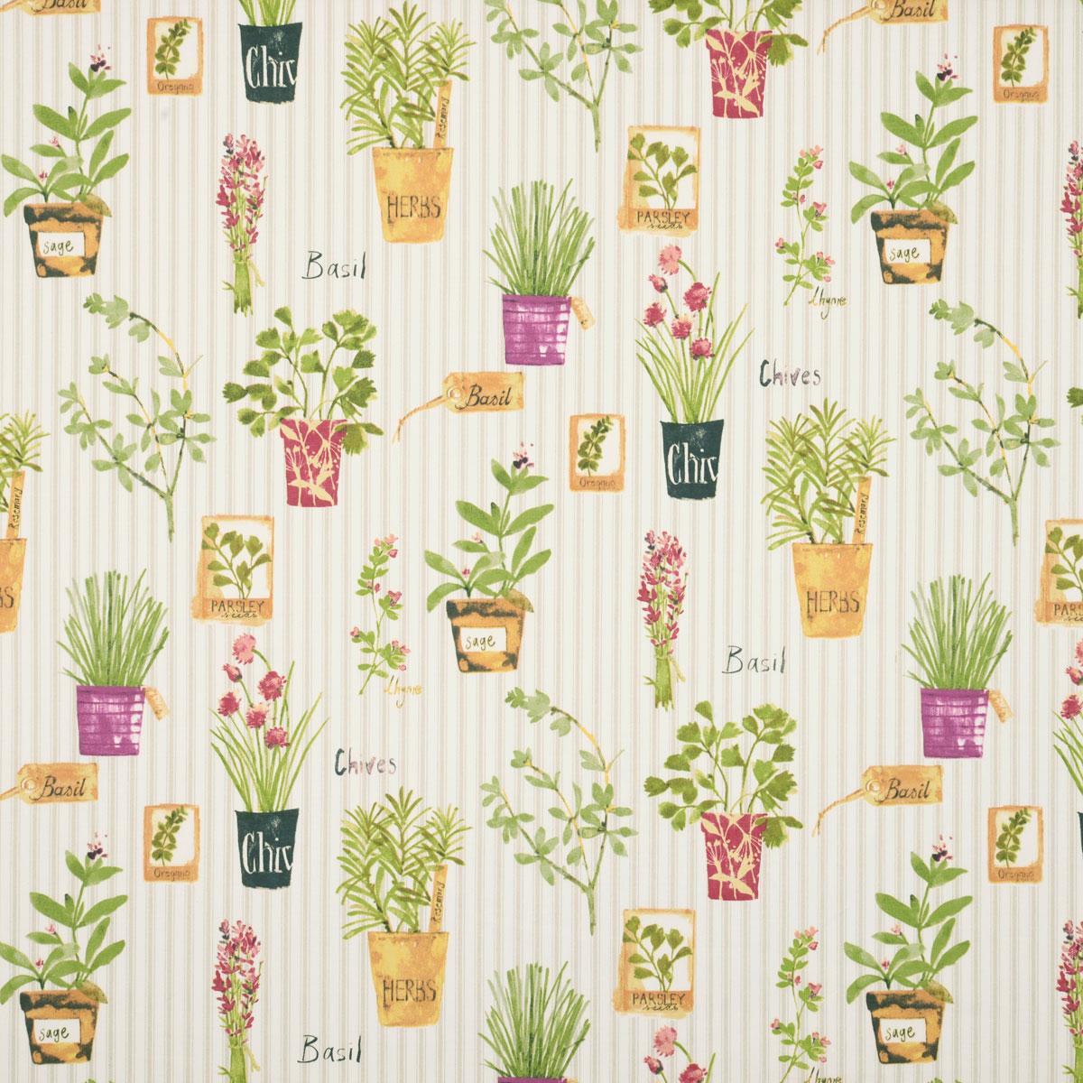 Stockists of Sage Herb Pots Curtain Fabric