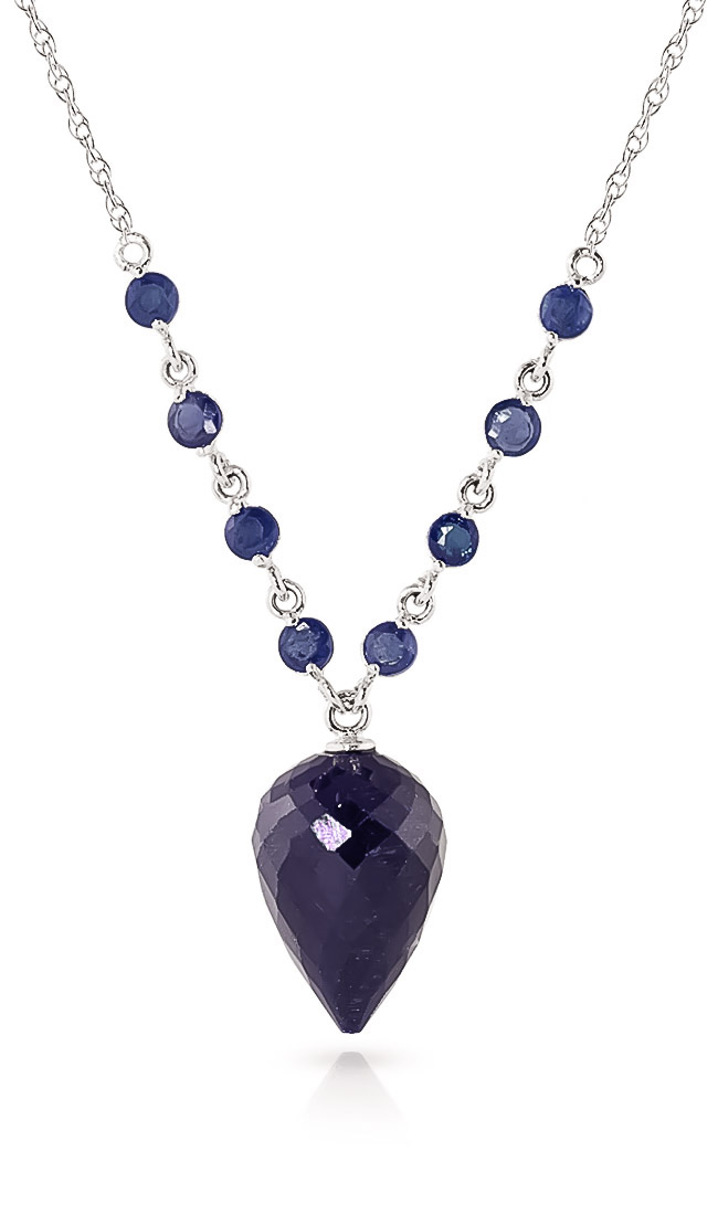 Bargain Sapphire Briolette Pendant Necklace 14.0ctw in 9ct White Gold Stockists