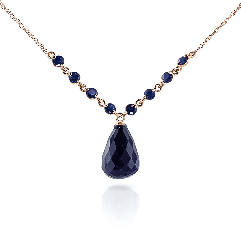 Bargain Sapphire Briolette Pendant Necklace 15.8ctw in 9ct Rose Gold Stockists