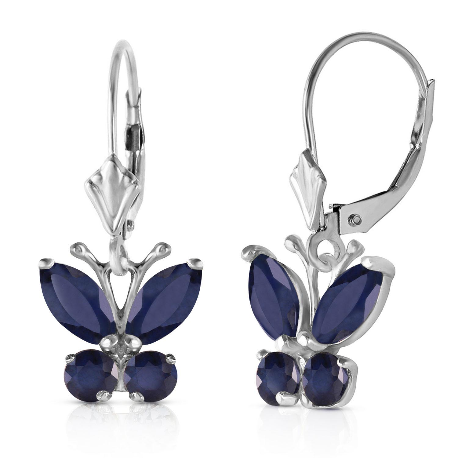 Bargain Sapphire Butterfly Earrings 1.24ctw in 9ct White Gold Stockists