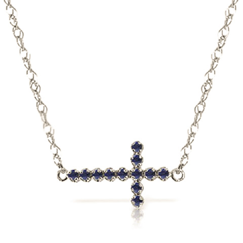 Bargain Sapphire Cross Pendant Necklace 0.3ct in 9ct White Gold Stockists