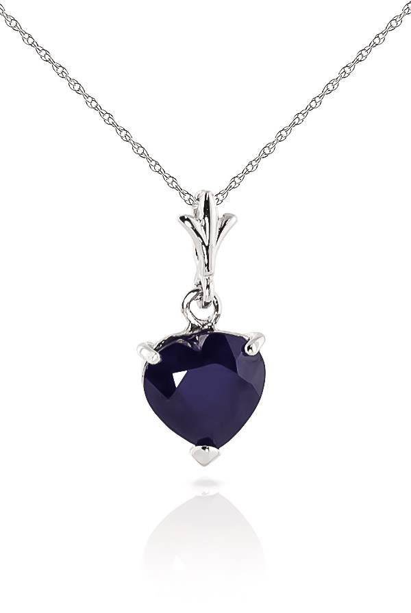 Bargain Sapphire Heart Pendant Necklace 1.55ct in 9ct White Gold Stockists