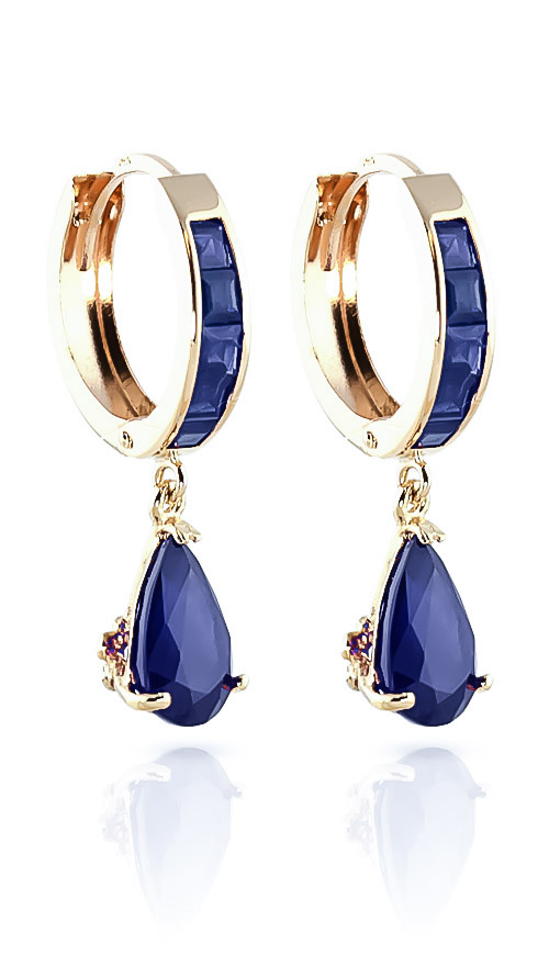 Bargain Sapphire Huggie Drop Earrings 4.55ctw in 9ct Gold Stockists